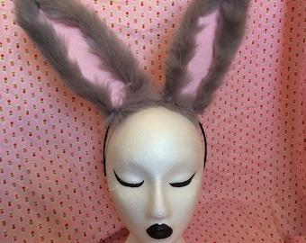 Grey Bunny Ears with Wire - Cosplay ~ Kawaii ~ Furry