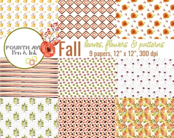 Autumn Digital Paper, Fall Digital Paper, Fall Paper Pack, Autumn Digital Background, Leaf Patterns, Digital Paper Pack, Scrapbook Paper