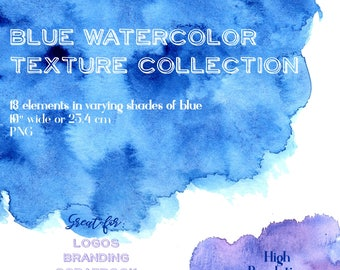 Watercolor Clipart, Watercolor Textures, Watercolor Splash, Indigo, Navy, Blue, Watercolor Washes, Digital Scrapbook, Logo Design,