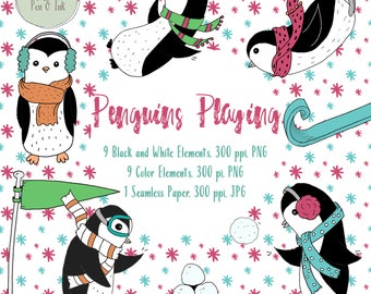 Hand Drawn Penguin Clipart, Penguin Clipart, Penquins Playing Clipart, Winter Clipart, Penguin Digital Stamp