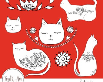 Folkart Cat Clipart, Feline, Cats, Kitties, Folkart, Illustration, Clipart, Digital Stamps, DIY Cards