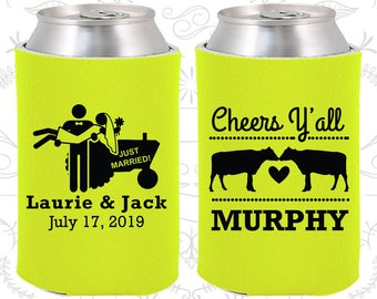 Neon Yellow Wedding, Neon Yellow Can Coolers, Neon Yellow Wedding Favors, Neon Yellow Wedding Gift, Neon Yellow Party Favors (555)