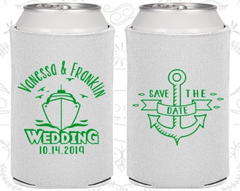 Save the Date Wedding, Wedding Décor, Anchor Favors, Nautical Favors, Cruise Ship, Wedding Beer Can Coolers (209)