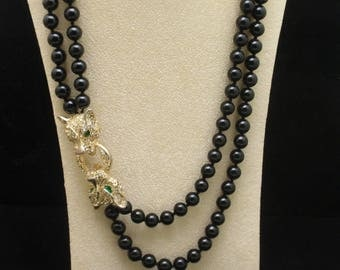 Double Strand Black Necklace with Rhinestones Jungle Cats Vintage