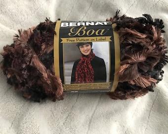 Bernat Boa yarn - Dark Mink colorway - Brown Taupe Multicolored Eyelash Yarn - bulky weight - 129 yd