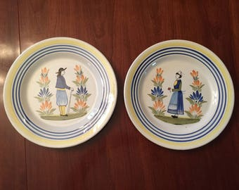 "Pair of Vintage Breton Man & Woman 12.5"" Henriot Gimper Round Platters"