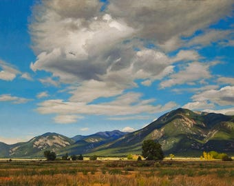 The Southwest Landscape, 'Taos Afternoon'  Original Oil Painting by Jurgen Wilms, 8x10 inches, Hills, Cloudy Sky, Archival Print