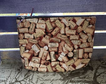 Wine Cork Print Flared Make-up Bag