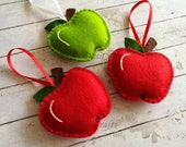 Wool Felt Apple ornament, Apple decorations, Red or Green Apple gift, Teacher appreciation gift, Apple bag charm, Back to School gift