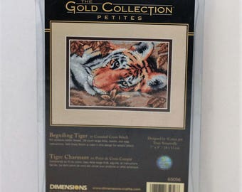 """Dimensions Gold Petite Collection Beguiling Tiger 7"""" x 5""""  counted cross stitch kit #65056"""