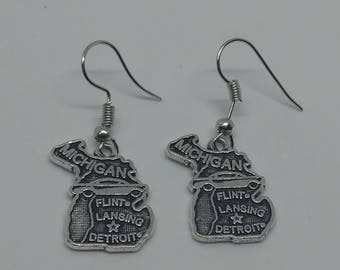 Silver State of Michigan, Great Lakes, Earrings, Pure Michigan, Jewelry, Detroit, Lansing, Flint, Automobile