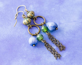 Green and Blue Jobs Tears Earrings with Chain Tassels, Seed Earrings, Natural Jewelry, Eco Friendly Earrings