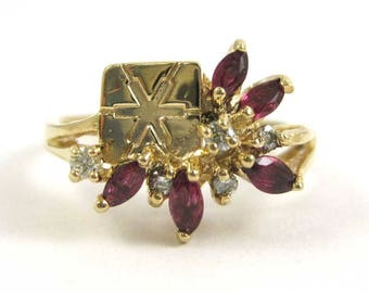Ruby and 14k Gold Ring with Snowflake Design