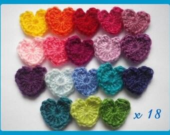 ✿•ڿڰۣ✿ Lot 18 hearts applique crochet wool ✿•ڿڰۣ✿ 2,5 cm