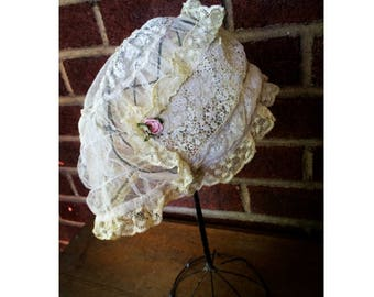 1920s Ivory Lace Boudoir Cap | dressing | sleeping