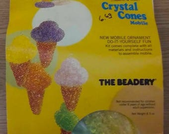 "On Sale Vintage ""The Beadery"" Crystal Ice Cream Cones Mobile, Make & Melt Kit, Ice Cream Cones w/Hanging Rings, Bead Kit, Beaded Mobile, NEW"