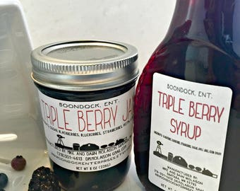 Triple Berry Jam and Triple Berry Syrup Combo - Breakfast Syrup - Blueberry Blackberry Strawberry - Housewarming Gift - Boondock Enterprises