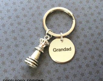 Grandad gift - Grandad keyring - Chess gift for Grandad - Chess piece keyring - Grandad keychain -  Grandad Birthday gift - Stocking filler