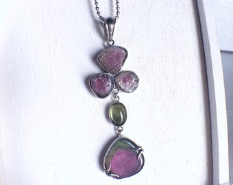 Raw rough uncut bicolor tourmaline raw watermelon tourmaline with peridot cabochon sterling silver raw gemstone pendant