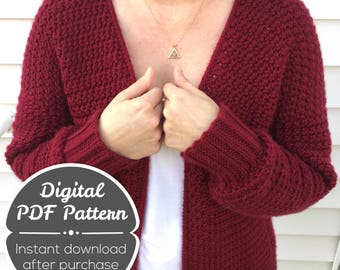 CROCHET PATTERN: Crochet Cardigan Pattern, Instant Download, Everyday Cardigan, Women's Clothing Pattern, Medium-XL and 1X-3X Cardigan