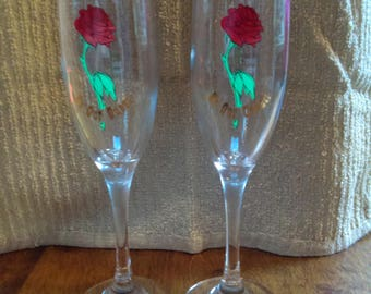 Beauty and the Beast Champagne Flutes - Limited Edition & Numbered