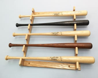Five bat horizontal baseball bat display rack wall mount holder for full size bats