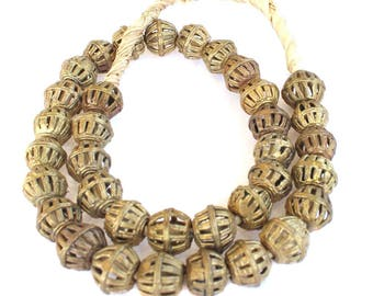 Handemade Ghana African lost Wax natural Cage Weave Brass trade Beads