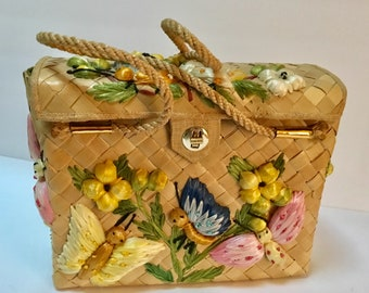 Vintage Straw Butterfly Basket Purse / Straw Box Purse / NOS / Raffia Straw Purse / 1970's / Philippines / Top Handle / LG Purse