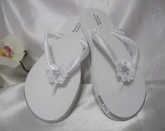 White Bling Rhinestone Bridal Beach Silver Starfish with White Flower & White Satin Ribbon Flip Flops Sandals Shoes  US Size 6, Handmade
