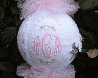 BABY MONOGRAM ORNAMENT, For Baby Girl, First Christmas Tree, Nursery, Personalized, Swarovski Crystal Birthstone Charm, Unique, Gift Box