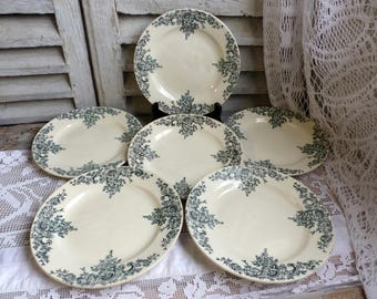 Set of 6 antique french forest green transferware plates. Dark green transferware. Jeanne d'Arc living. French nordic decor. Louis XV.