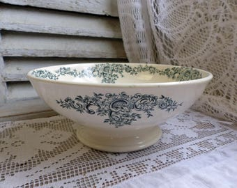 Antique french forest green transferware salad serving bowl. Dark green transferware footed serving bowl. Jeanne d'Arc living.