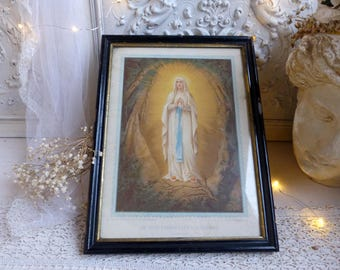 Antique french color lithograph image of Our Lady of Lourdes. Prayer. Madonna. Black wood frame. Jeanne d'Arc living. Christian home decor.