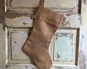 Burlap Stocking | Fringe Stocking | Christmas Stocking | Burlap Christmas | Eco Friendly Christmas | DIY Stocking | Craft Supply