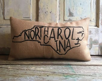 Pillow Cover   State Pillow   City Pillow   North Carolina Pillow   Burlap pillow  Gift for Him   Gift for her   State Throw
