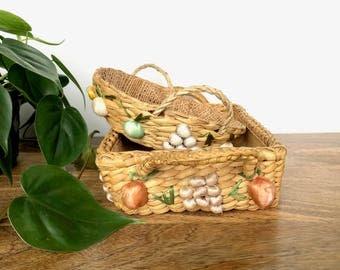 Vintage Baskets   Set of 2 Raffia Baskets Detailed with Fruit & Veggies   Food Carriers/Holders   Home/Kitchen Decor