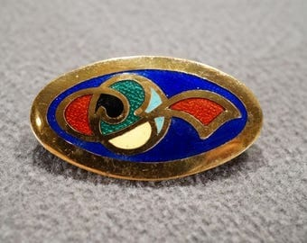 Vintage Art Deco Style Yellow Gold Tone Enameled Multi Colored Scrolled Pin Brooch Jewelry -K#54