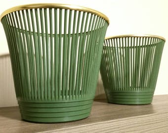 Vintage Flower Pot Cover, West Germany Plastic Planter, Green and Gold, Retro Mid Century Modern Houseplant Pot