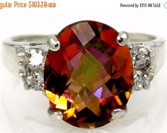 On Sale, 30% Off, Twilight Fire Topaz, 925 Sterling Silver Ring, SR123