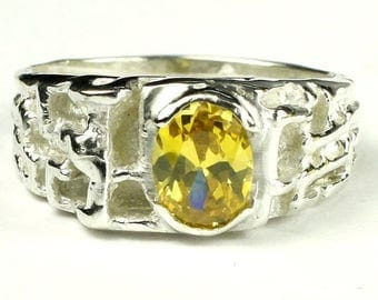 On Sale, 30% Off, Golden Yellow CZ, 925 Sterling Silver Men's Ring, SR197