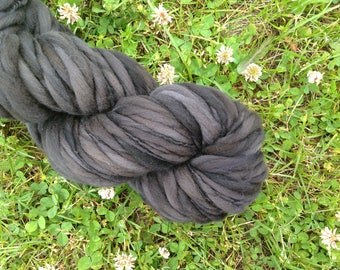 COAL - Handspun Merino Super Bulky Thick & Thin Yarn - 82 YDS