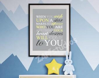When You Wish Upon A Star - Nursery Decor - Playroom - Wall Art - Printable Decor
