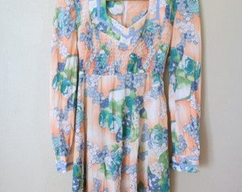 vintage peach floral peasant mini dress *