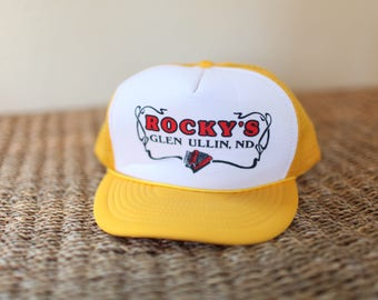 vintage yellow rockys accordian foam dome hat