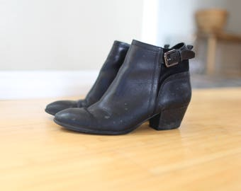 vintage black leather buckle oxford ankle boots womens 8 1/2