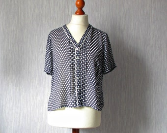 Vintage spotty blouse shirt top, navy white polka dot, Oversized elegant clothing 80s