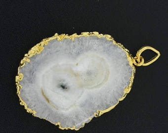 40%DIS AAA 70 Cts 33x40x5mm Gold Dipped SOLAR Quartz Stalactites Slice Gold Dipped Pendant(2700)