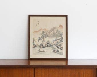 Asian Silk Woodblock Print