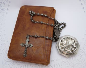 RELIGIOUS OBJECTS, Mass book, Rosary, Host Box, PYX, Vintage Collection, Catholic, Prayer Book, Fatima, Religious book, Missal