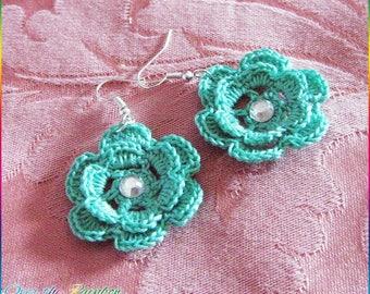 Crochet Flower Earrings with Rhinestones